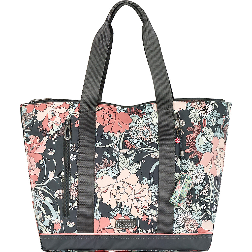 Sakroots New Adventure Finch Large Tote Charcoal Flower Power - Sakroots Fabric Handbags - Handbags, Fabric Handbags