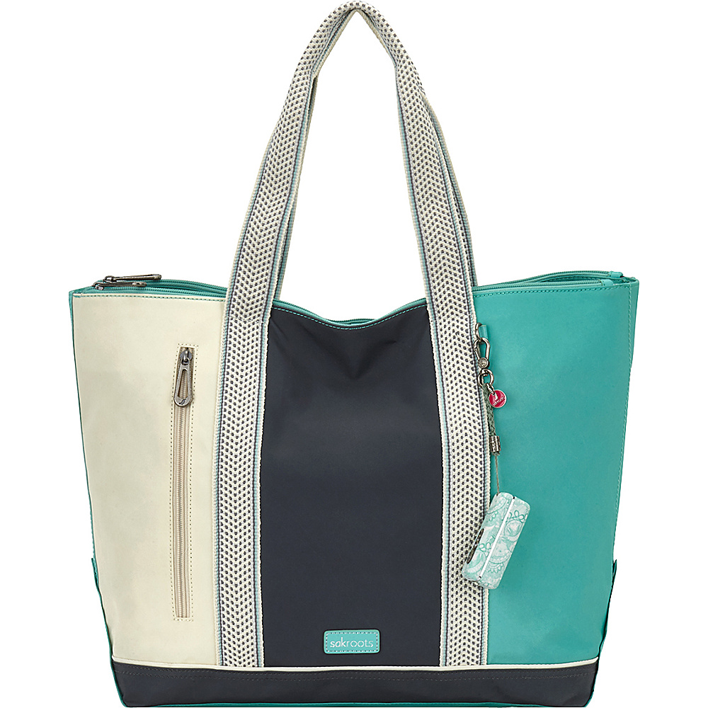 Sakroots New Adventure Finch Large Tote Seafoam Colorblock - Sakroots Fabric Handbags - Handbags, Fabric Handbags