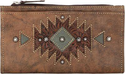 American West Ladies' Folded Wallet Distressed Charcoal Brown - American West Women's Wallets