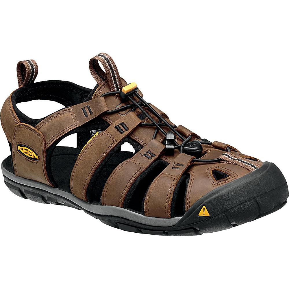 KEEN Mens Clearwater CNX Leather Sandal 10.5 - Dark Earth/Black - KEEN Mens Footwear - Apparel & Footwear, Men's Footwear