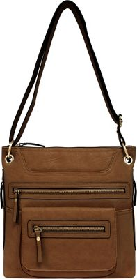 Bueno Multi Zip Crossbody Medium Brown - Bueno Manmade Handbags
