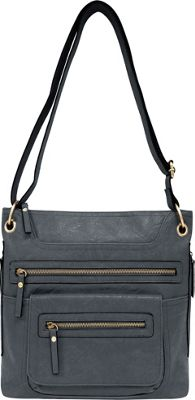 Bueno Multi Zip Crossbody Grey - Bueno Manmade Handbags