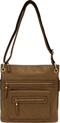 Bueno Multi Zip Crossbody Dark Taupe - Bueno Manmade Handbags