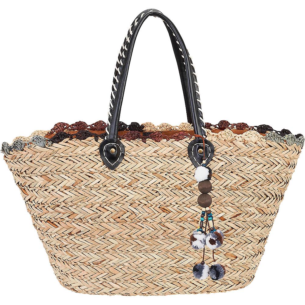 Sun N Sand Natural Straw Handbag Tote Multi - Sun N Sand Straw Handbags - Handbags, Straw Handbags