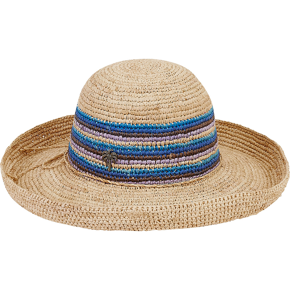 Sun N Sand Natural Raffia Finely Crocheted A-Blue - Sun N Sand Hats/Gloves/Scarves - Fashion Accessories, Hats/Gloves/Scarves