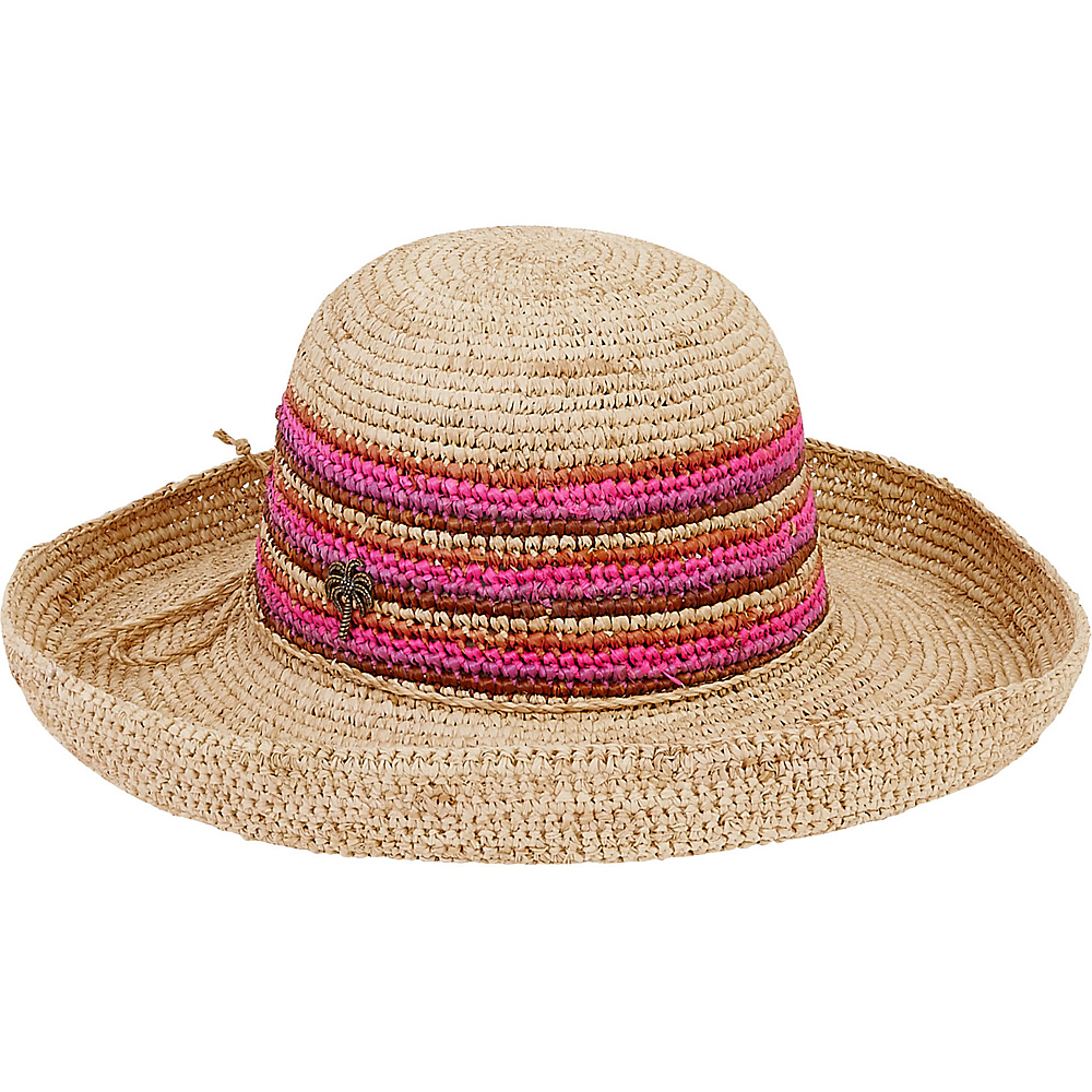 Sun N Sand Natural Raffia Finely Crocheted Fuchsia - Sun N Sand Hats/Gloves/Scarves - Fashion Accessories, Hats/Gloves/Scarves