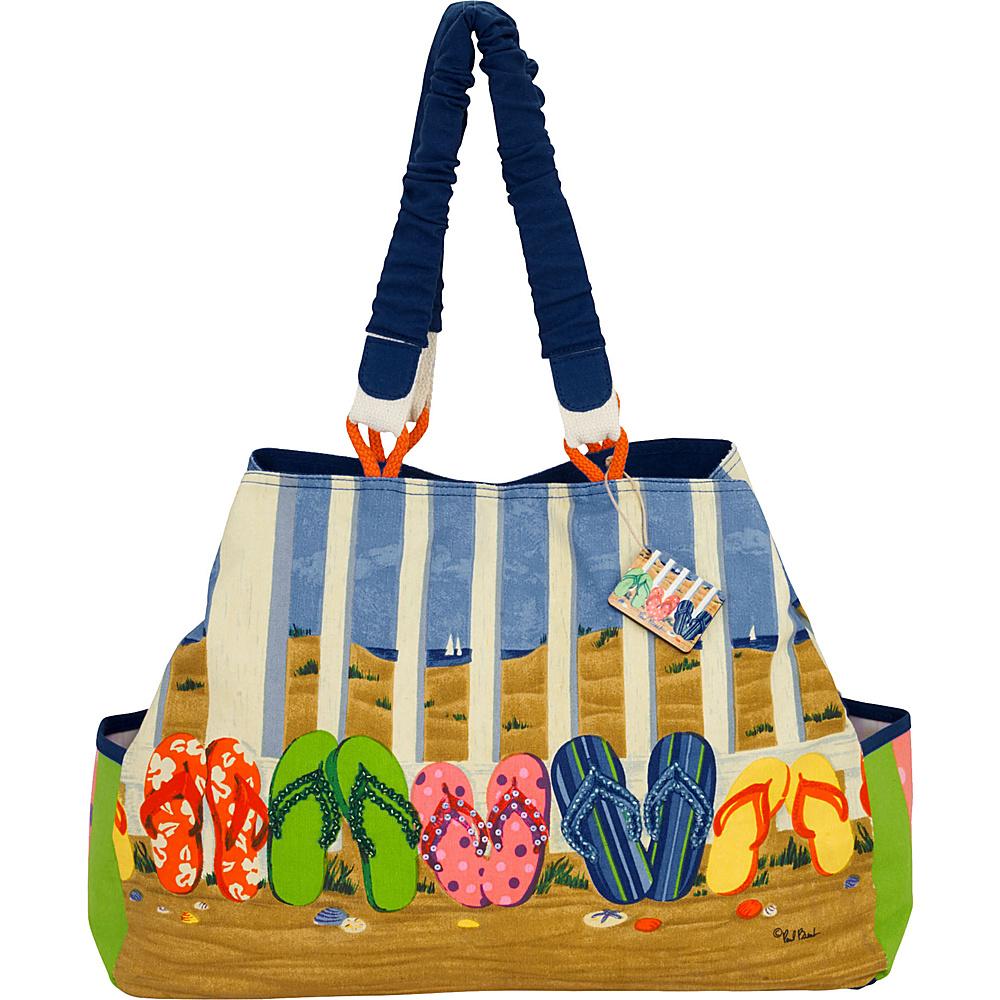 Sun N Sand Paul Brent Artistic Canvas Tote Coastal Flip Flops - Sun N Sand Fabric Handbags - Handbags, Fabric Handbags