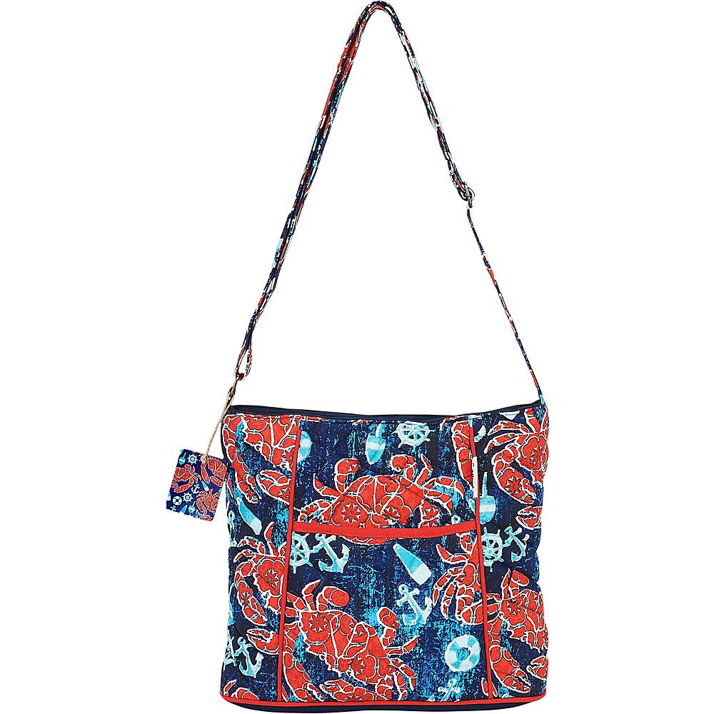 Sun N Sand I Love Summer Coated Foiled Canvas Crossbody Nautical Crabs - Sun N Sand Fabric Handbags - Handbags, Fabric Handbags