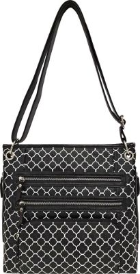 Bueno Printed Triple Zip Crossbody Black & White Quaterfoil - Bueno Leather Handbags