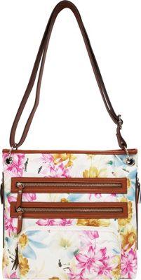 Bueno Printed Triple Zip Crossbody Blue & Yellow Flowers - Bueno Leather Handbags