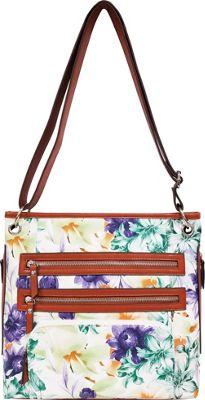 Bueno Printed Triple Zip Crossbody Purple Green - Bueno Leather Handbags