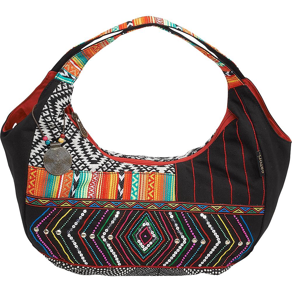 Sun N Sand Zuri Hobo Black Multi - Sun N Sand Fabric Handbags - Handbags, Fabric Handbags