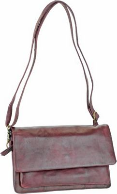 R & R Collections 3/4 Flap Crossbody Burgundy - R & R Collections Leather Handbags