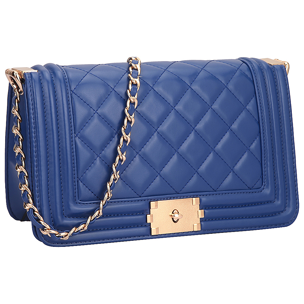Dasein Quilted Crossbody Bag with Intertwined Leather Gold-Tone Chain Straps Blue - Dasein Manmade Handbags - Handbags, Manmade Handbags