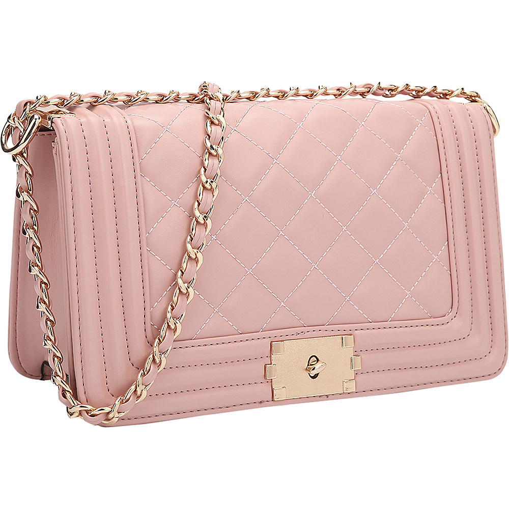 Dasein Quilted Crossbody Bag with Intertwined Leather Gold-Tone Chain Straps Pink - Dasein Manmade Handbags - Handbags, Manmade Handbags