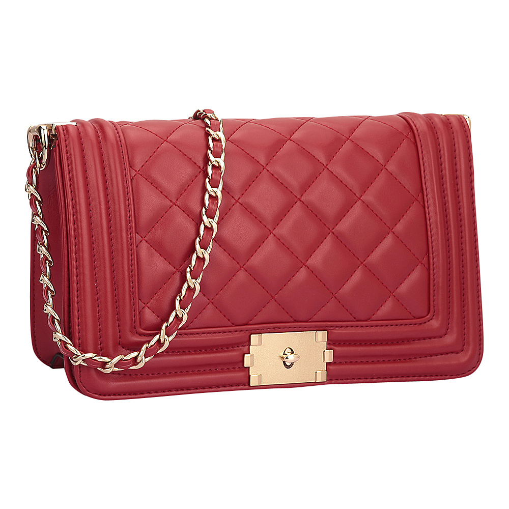 Dasein Quilted Crossbody Bag with Intertwined Leather Gold-Tone Chain Straps Red - Dasein Manmade Handbags - Handbags, Manmade Handbags