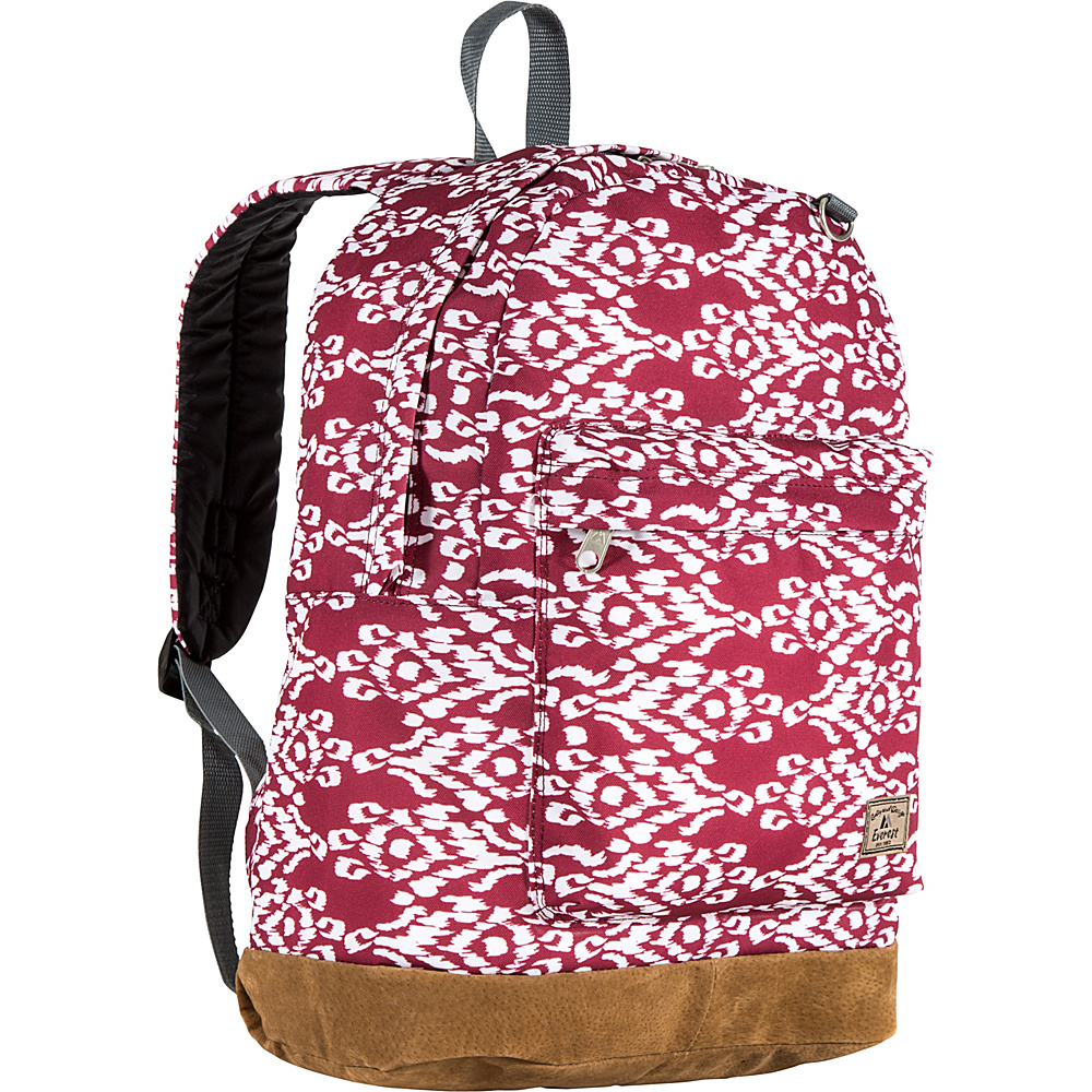 Everest Suede Bottom Pattern Backpack Burgundy/White Ikat - Everest School & Day Hiking Backpacks - Backpacks, School & Day Hiking Backpacks
