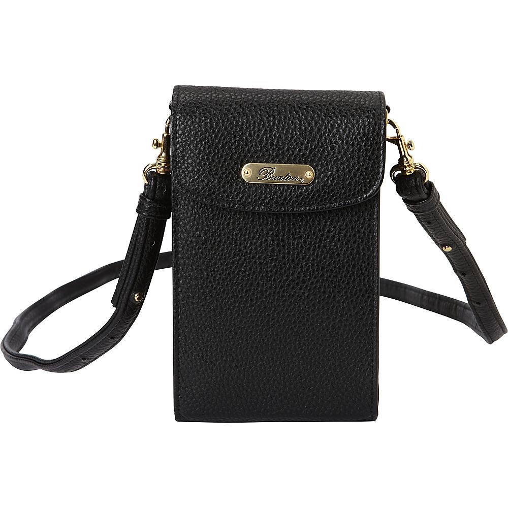 Buxton Pebble Cell Phone Crossbody Black - Buxton Manmade Handbags - Handbags, Manmade Handbags