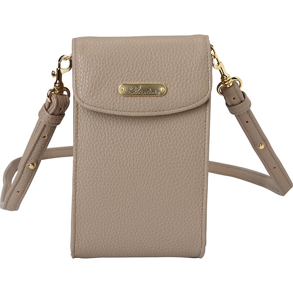 Buxton Pebble Cell Phone Crossbody White Pepper - Buxton Manmade Handbags - Handbags, Manmade Handbags