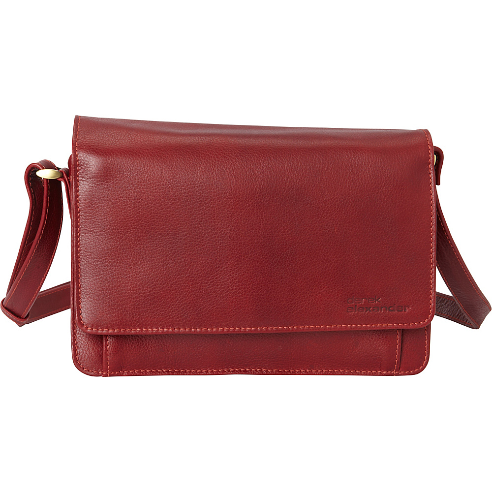 Derek Alexander EW Half Flap Multi Compartment Organizer Crossbody Red - Derek Alexander Leather Handbags - Handbags, Leather Handbags