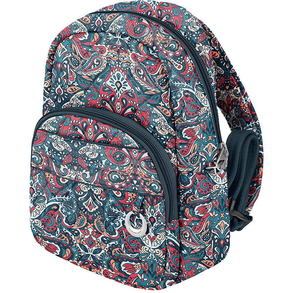 Travelon Anti-Theft Boho Backpack Summer Paisley/Deep Turquoise Interior - Travelon Fabric Handbags - Handbags, Fabric Handbags