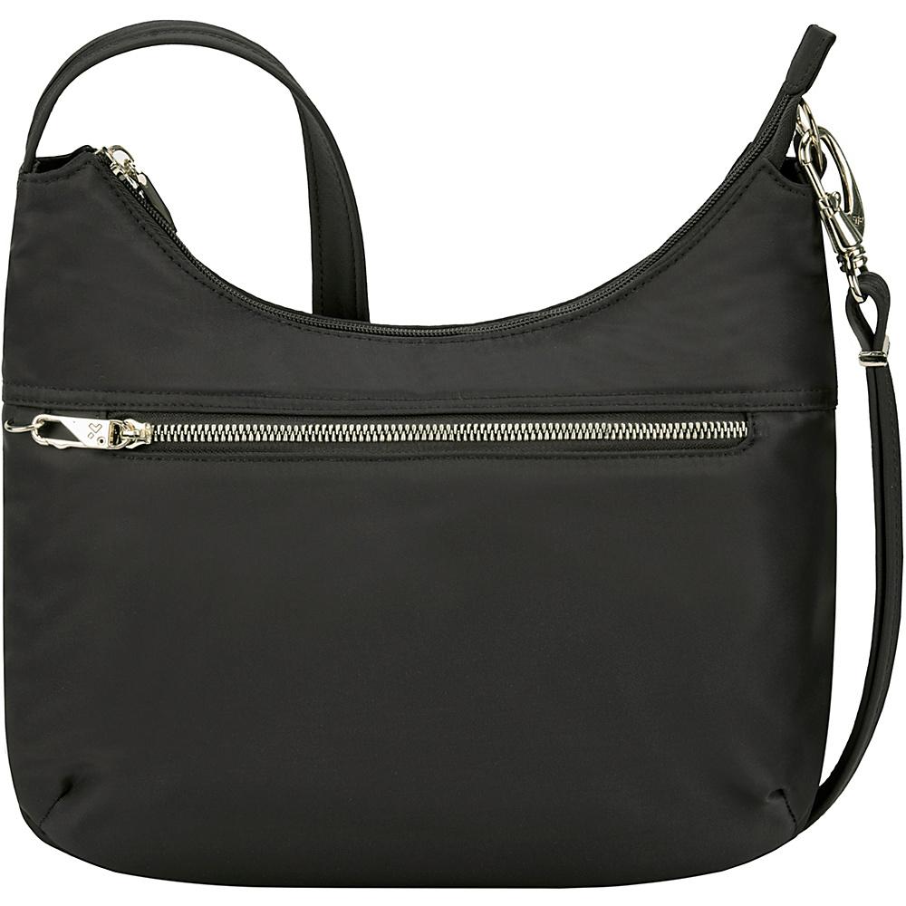 Travelon Anti-Theft Tailored Hobo Bag Onxy/Royal Purple Interior - Travelon Fabric Handbags - Handbags, Fabric Handbags