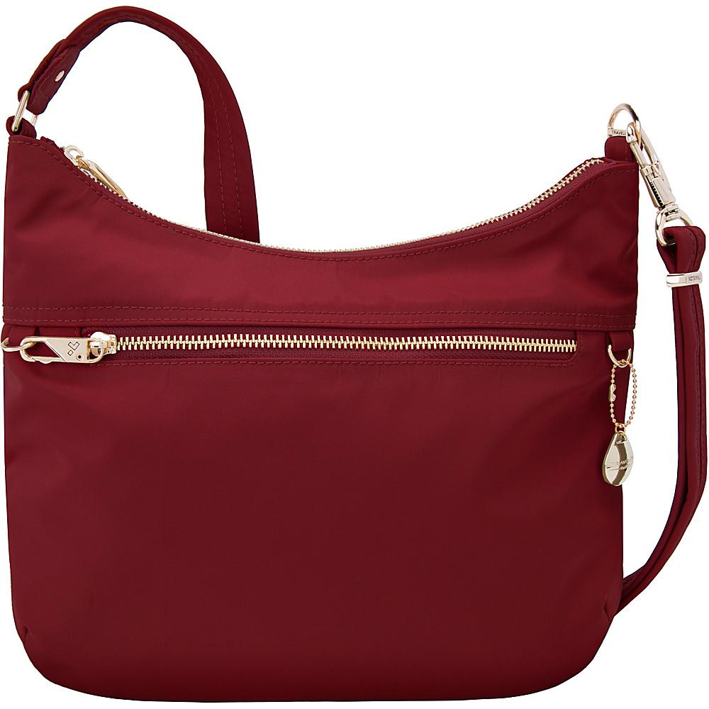 Travelon Anti-Theft Tailored Hobo Bag Garnet/Dove Gray Interior - Travelon Fabric Handbags - Handbags, Fabric Handbags