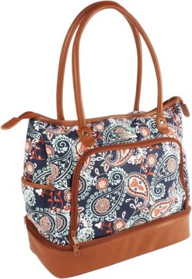 Fit & Fresh Voyager Travel Tote Navy Orange Paisley - Fit & Fresh Luggage Totes and Satchels