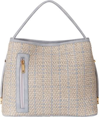 Samoe Tote Convertible Handbag - Woven Snakeskin Powder Blue and White Snakeskin - Samoe Manmade Handbags