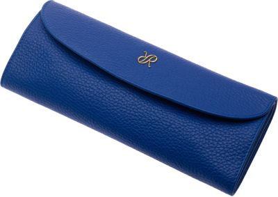 Rapport London Mayfair Leather Jewelry Roll Blue - Rapport London Packing Aids