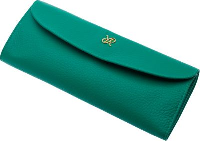 Rapport London Mayfair Leather Jewelry Roll Green - Rapport London Packing Aids
