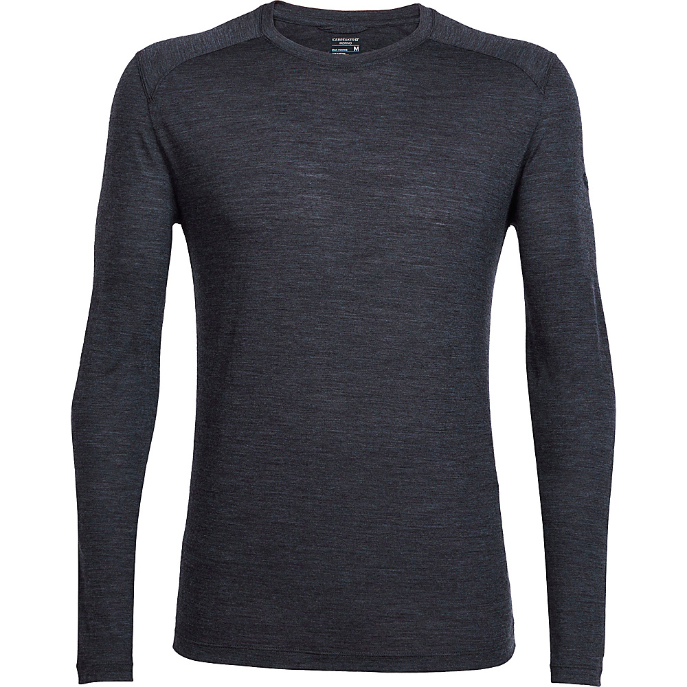 Icebreaker Mens Sphere Long Sleeve Crew S - Black Heather - Icebreaker Mens Apparel - Apparel & Footwear, Men's Apparel