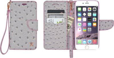 Candywirez Case Study Wallet with Strap for iPhone 6S Plus Ostrich Grey - Candywirez Electronic Cases