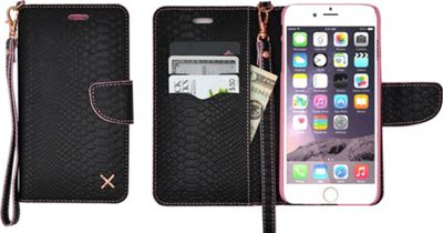 Candywirez Case Study Wallet with Strap for iPhone 6S Plus Croc Matte Black - Candywirez Electronic Cases