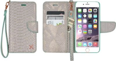 Candywirez Case Study Wallet with Strap for iPhone 6S Plus Croc White Gold - Candywirez Electronic Cases