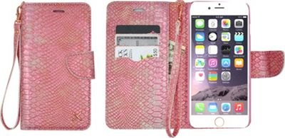 Candywirez Case Study Wallet with Strap for iPhone 6S Plus Croc Salmon - Candywirez Electronic Cases