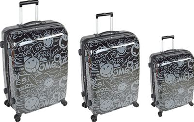 Smiley Stealth 3pc Spinner Black - Smiley Luggage Sets