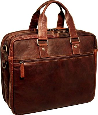 Jack Georges Voyager Triple Gusset Top Zip Business Travel Briefcase Brown - Jack Georges Non-Wheeled Business Cases