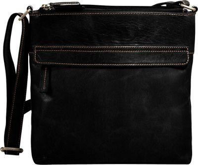 Jack Georges Voyager Zip Top Hobo Bag Black - Jack Georges Leather Handbags