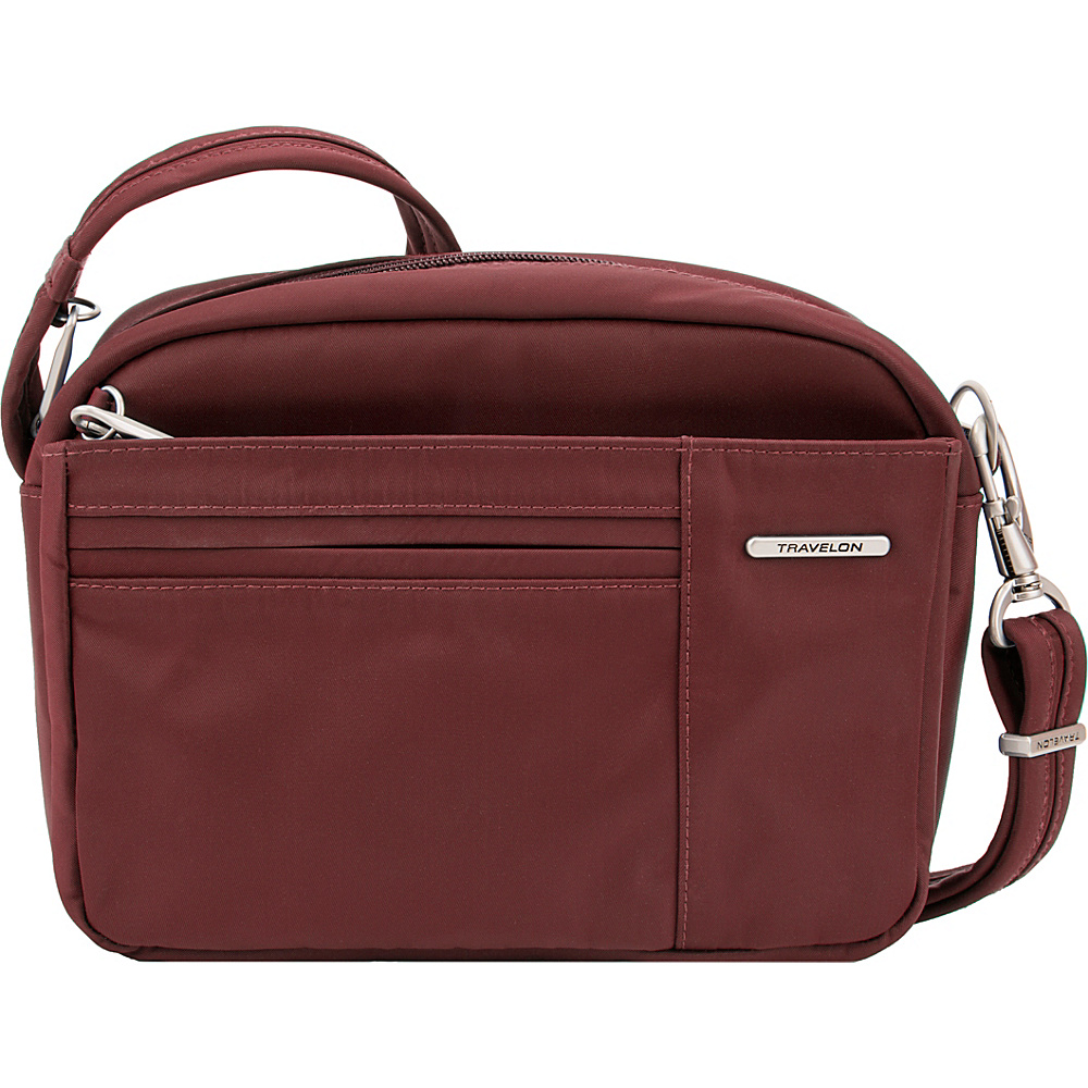Travelon Anti-Theft Welted Small East/West Crossbody - Exclusive Maroon - Travelon Fabric Handbags - Handbags, Fabric Handbags