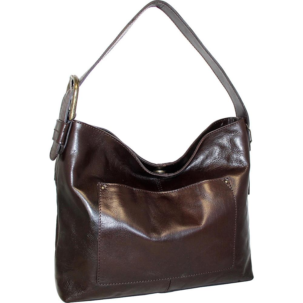 Nino Bossi Ursula Leather Hobo Chocolate - Nino Bossi Leather Handbags - Handbags, Leather Handbags