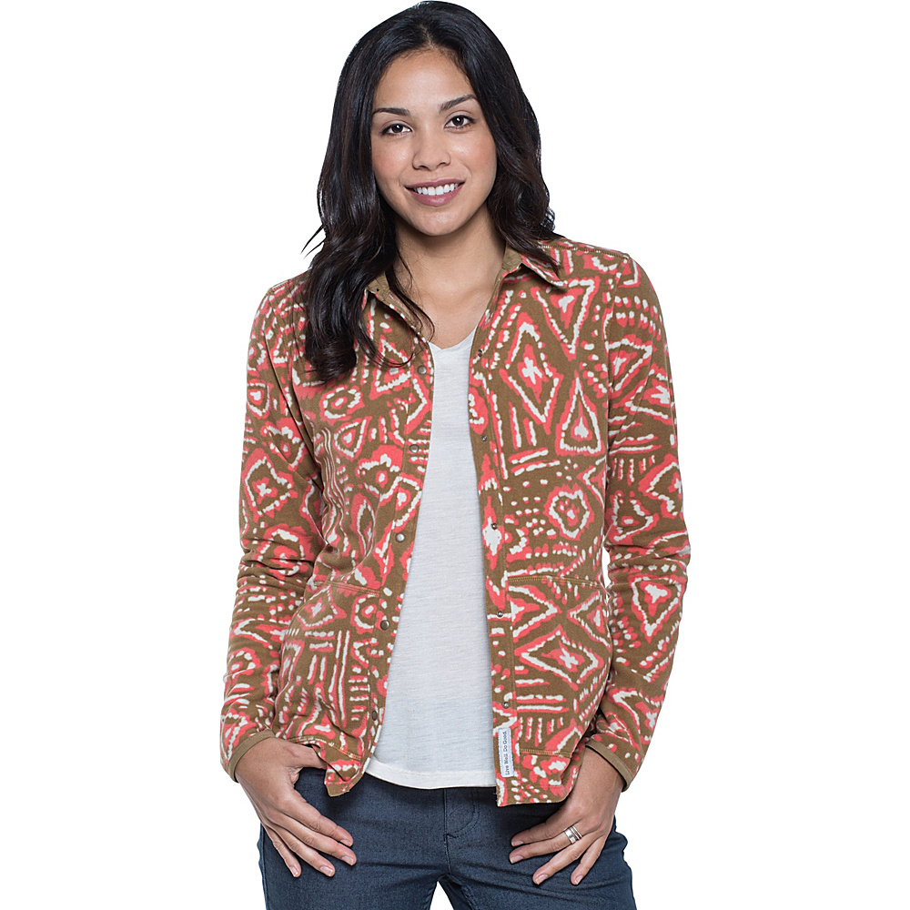 Toad & Co Sundowner Fleece Shirt M - Honey Brown Brush Print - Toad & Co Womens Apparel - Apparel & Footwear, Women's Apparel