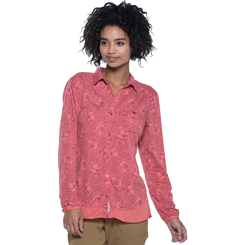 Toad & Co Debug Hike-Thru Long Sleeve Shirt XL - Spiced Coral Floral Print - Toad & Co Womens Apparel - Apparel & Footwear, Women's Apparel