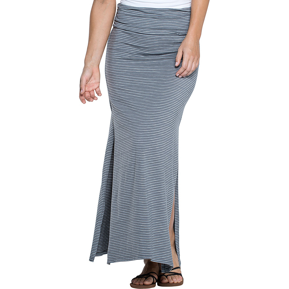 Toad & Co Montauket Long Skirt L - Smoke Lean Stripe - Toad & Co Womens Apparel - Apparel & Footwear, Women's Apparel