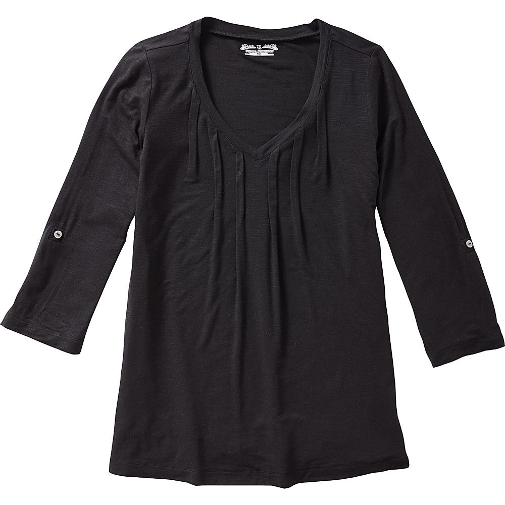 Royal Robbins Womens Noe 3/4 Sleeve Vee Shirt XS - Jet Black - Royal Robbins Womens Apparel - Apparel & Footwear, Women's Apparel