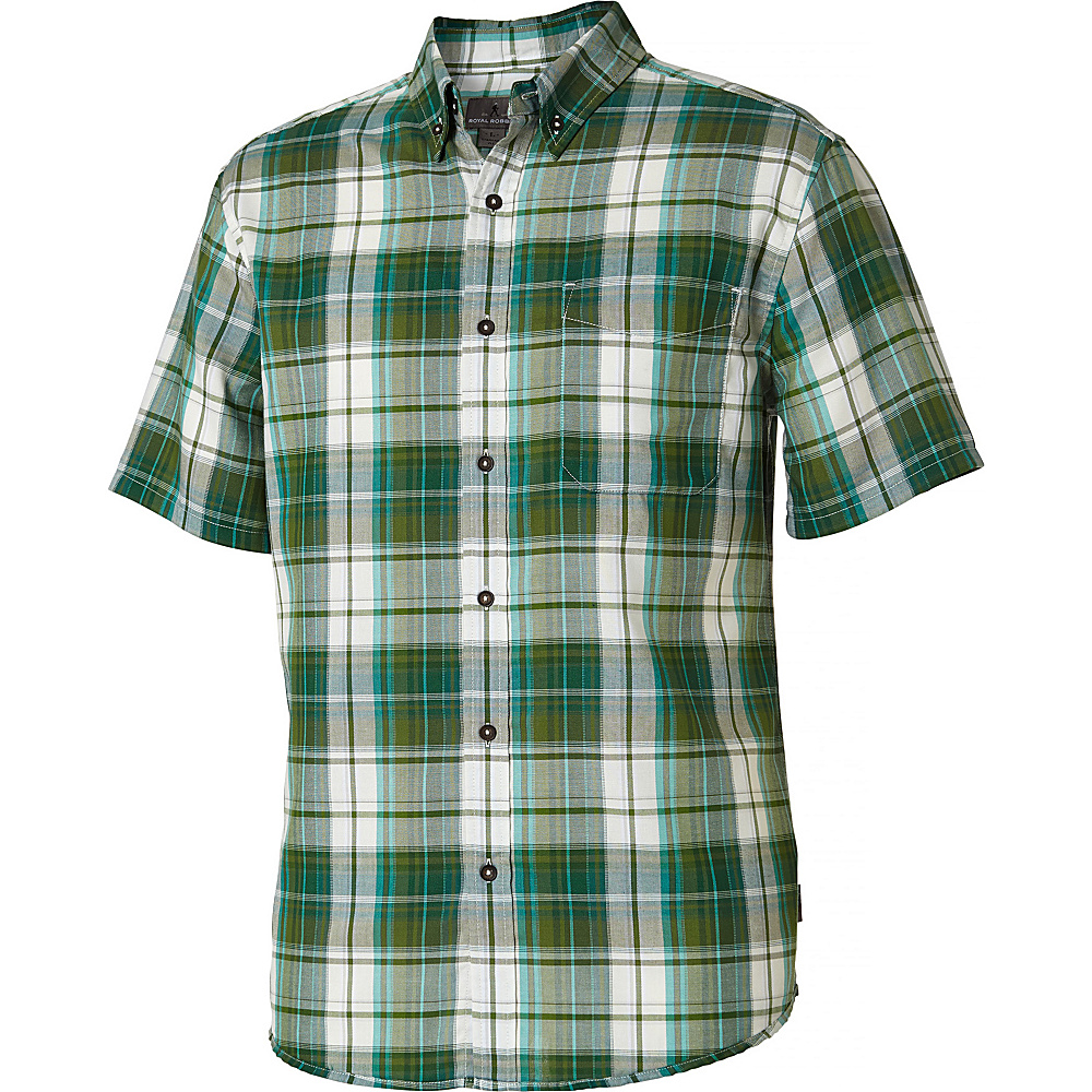 Royal Robbins Mens Olly Oxford Plaid Short Sleeve Shirt S - Ivy - Royal Robbins Mens Apparel - Apparel & Footwear, Men's Apparel