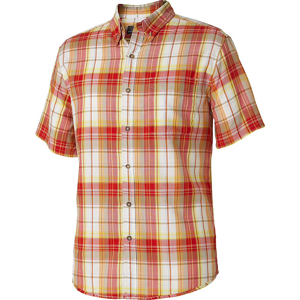 Royal Robbins Mens Olly Oxford Plaid Short Sleeve Shirt L - Crimson - Royal Robbins Mens Apparel - Apparel & Footwear, Men's Apparel