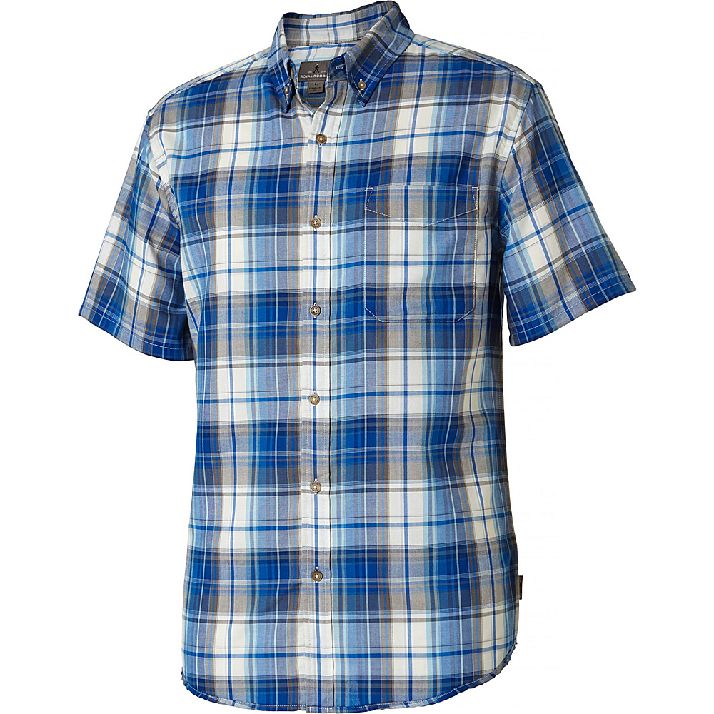 Royal Robbins Mens Olly Oxford Plaid Short Sleeve Shirt M - Merlin Blue - Royal Robbins Mens Apparel - Apparel & Footwear, Men's Apparel