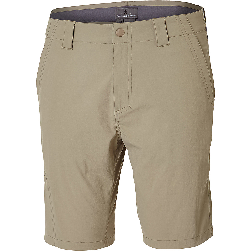 Royal Robbins Mens Everyday Traveler Short 36 - 10in - Khaki - Royal Robbins Mens Apparel - Apparel & Footwear, Men's Apparel