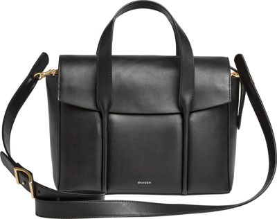 Skagen Beatrix Medium Leather Flap Satchel Black - Skagen Leather Handbags